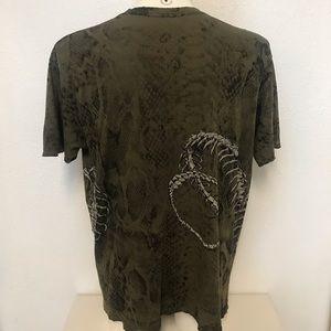 Affliction Shirts - Affliction Snake Skeletal Studded Distressed Shirt